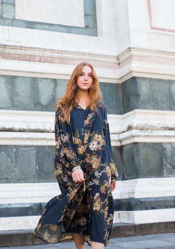abito lungo floreale donna cerimonia essere atelier negozio di moda abiti personalizzati firenze
