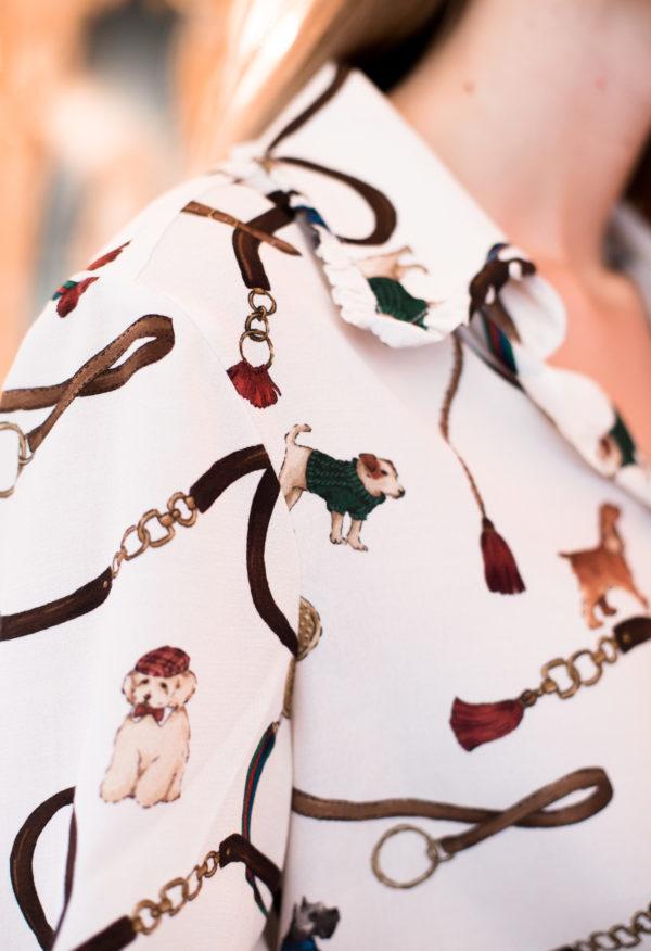 dettaglio camicia maniche lunghe donna essere atelier negozio di moda abiti personalizzati firenze