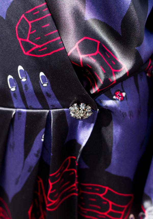 dettaglio abito da cerimonia seta essere atelier negozio di moda abiti personalizzati firenze
