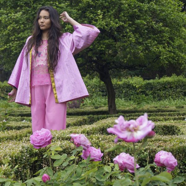 kimono corto donna rosa essere atelier negozio di moda abiti personalizzati firenze