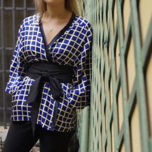 kimono corto quadri blu essere atelier negozio di moda abiti personalizzati firenze