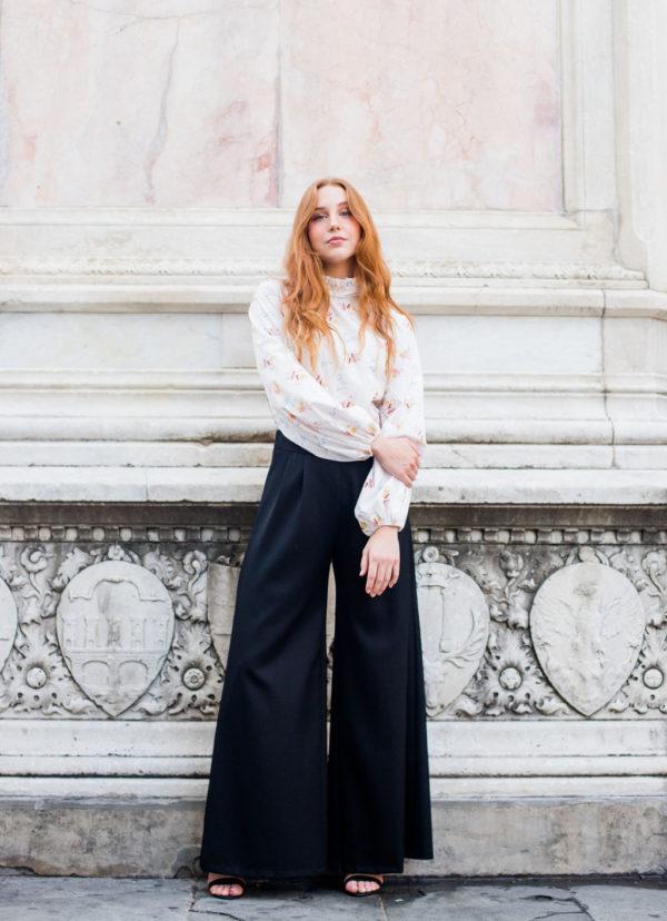 pantalone palazzo donna con cinturino pinces collezione invernale donna essere atelier negozio di moda abiti personalizzati firenze